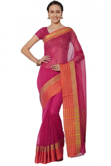Ultimate Pink Cotton and Silk Printed Casual Saree With Cotton and Silk Blouse