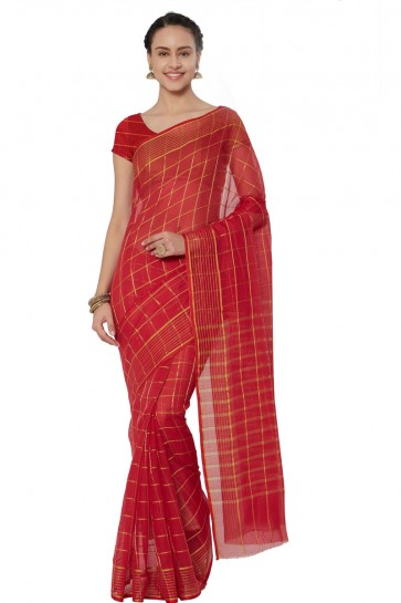 Classic Red Cotton and Silk Printed Casual Saree With Cotton and Silk Blouse