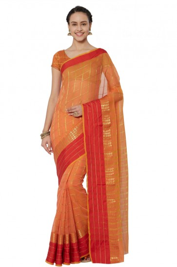 Admirable Orange Cotton and Silk Printed Casual Saree With Cotton and Silk Blouse