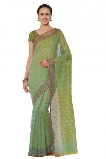 Charming Green Cotton and Silk Printed Casual Saree With Cotton and Silk Blouse