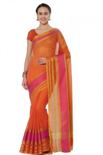 Pretty Orange Cotton and Silk Printed Casual Saree With Cotton and Silk Blouse