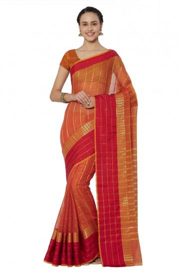 Excellent Orange Cotton and Silk Printed Casual Saree With Cotton and Silk Blouse