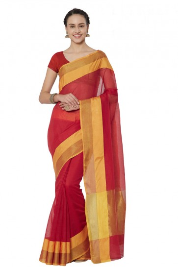 Optimum Red Cotton and Silk Printed Casual Saree With Cotton and Silk Blouse