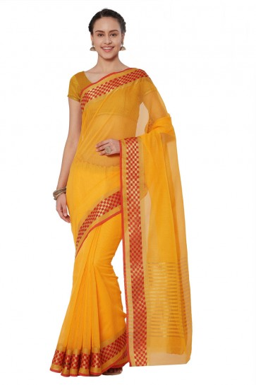 Graceful Yellow Cotton and Silk Printed Casual Saree With Cotton and Silk Blouse