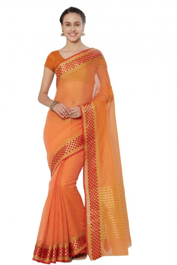Supreme Orange Cotton and Silk Printed Casual Saree With Cotton and Silk Blouse