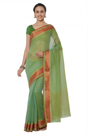 Ultimate Green Cotton and Silk Printed Casual Saree With Cotton and Silk Blouse