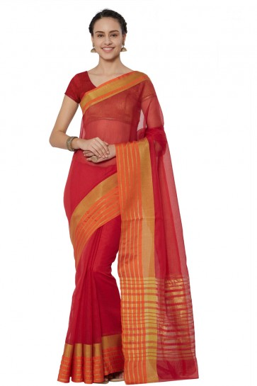 Admirable Red Cotton and Silk Printed Casual Saree With Cotton and Silk Blouse
