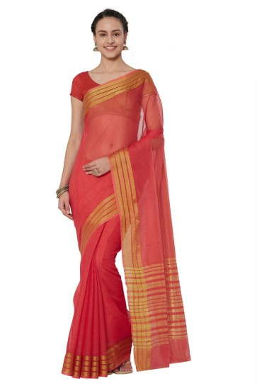 Stylish Red Cotton and Silk Printed Casual Saree With Cotton and Silk Blouse