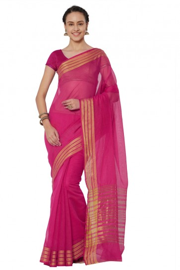 Beautiful Pink Cotton and Silk Printed Casual Saree With Cotton and Silk Blouse