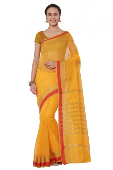 Supreme Yellow Cotton and Silk Printed Casual Saree With Cotton and Silk Blouse