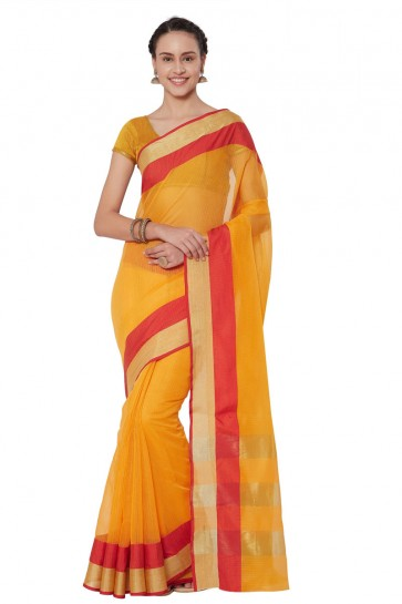 Pretty Yellow Cotton and Silk Casual Printed Saree With Cotton and Silk Blouse
