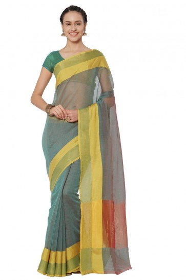 Charming Yellow Cotton and Silk Printed Casual Saree With Cotton and Silk Blouse