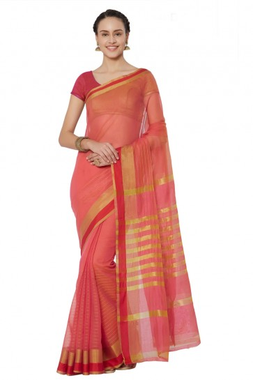 Desirable Peach Cotton and Silk Printed Casual Saree With Cotton and Silk Blouse