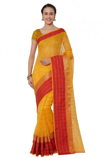 Excellent Yellow Cotton and Silk Printed Casual Saree With Cotton and Silk Blouse