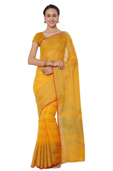 Gorgeous Yellow Cotton and Silk Printed Casual Saree With Cotton and Silk Blouse