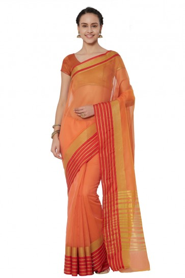 Graceful Orange Cotton and Silk Printed Casual Saree With Cotton and Silk Blouse