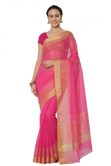 Pretty Pink Cotton and Silk Printed Casual Saree With Cotton and Silk Blouse