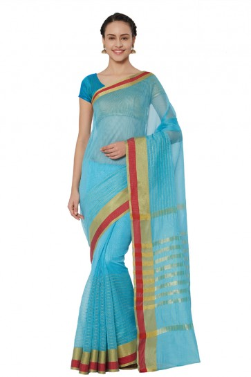 Charming Sky Blue Cotton and Silk Printed Casual Saree With Cotton and Silk Blouse