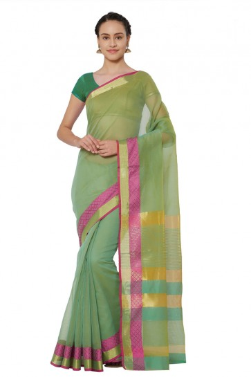 Lovely Green Cotton and Silk Printed Casual Saree With Cotton and Silk Blouse