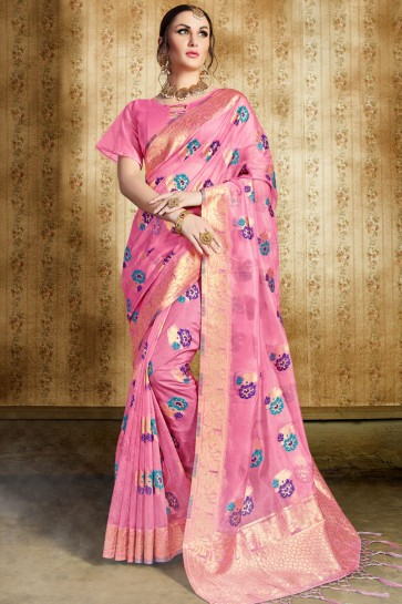 Stylish Pink Silk Jaquard Work Designer Saree With Silk Blouse
