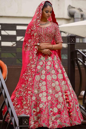 Lovely Pink Silk Embroidered Work Designer Lehenga Choli