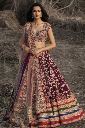 Beautiful Purple Satin Embroidered Work Designer Lehenga Choli