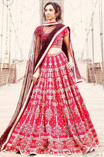 Gorgeous Red Satin Designer Lehenga With Net Dupatta