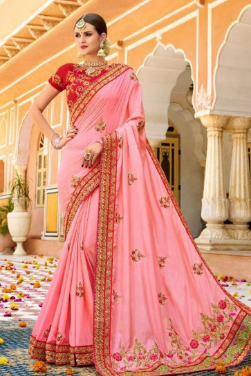Classic Pink Fancy Fabric Embroidered Saree With Fancy Fabric Blouse
