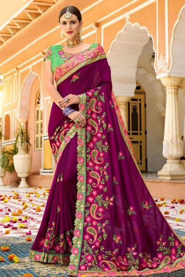 Admirable Purple Fancy Fabric Embroidered Saree With Fancy Fabric Blouse