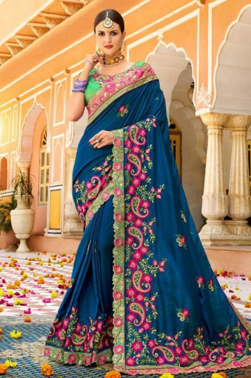 Graceful Blue Fancy Fabric Embroidered Saree With Fancy Fabric Blouse