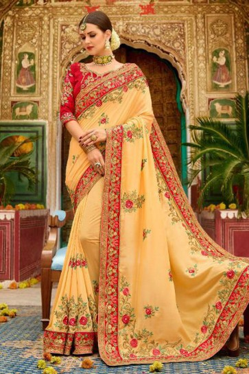 Gorgeous Yellow Fancy Fabric Embroidered Saree With Fancy Fabric Blouse
