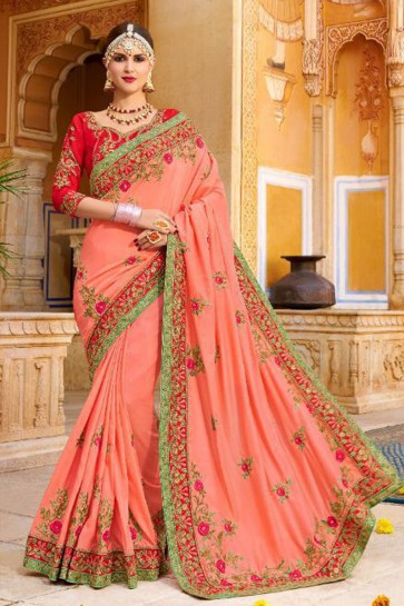 Pretty Peach Fancy Fabric Embroidered Saree With Fancy Fabric Blouse