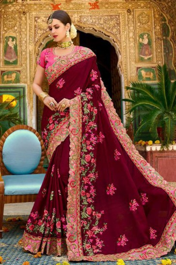 Excellent Maroon Fancy Fabric Embroidered Saree With Fancy Fabric Blouse