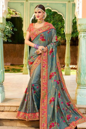 Stylish Grey Fancy Fabric Embroidered Saree With Fancy Fabric Blouse