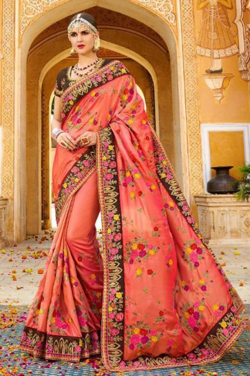 Charming Peach Fancy Fabric Embroidered Saree