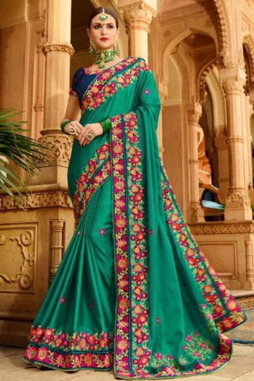 Ultimate Green Fancy Fabric Embroidered Saree With Fancy Fabric Blouse