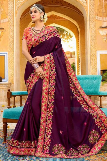 Beautiful Purple Fancy Fabric Embroidered Saree