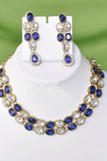 Admirable Blue and White Function Wear Alloy Necklace Set