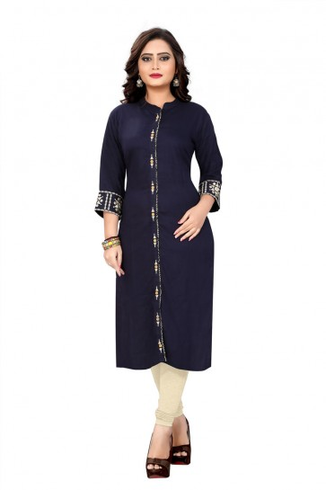 Graceful Navy Blue Rayon Embroidered Kurti