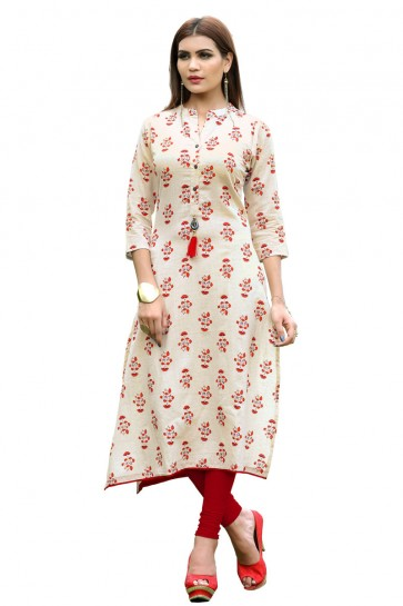 Excellent Off White Rayon Printed Kurti