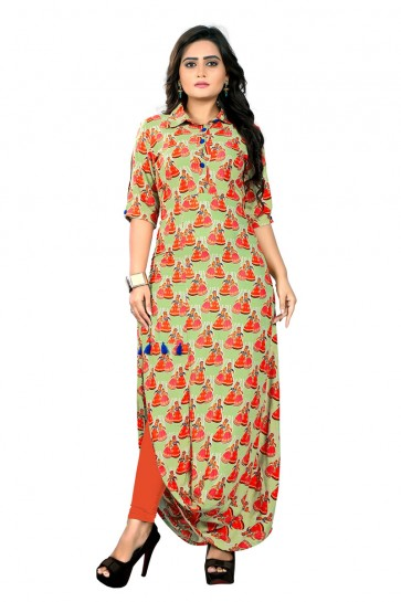 Supreme Orange and Green Rayon Printed Kurti