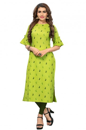 Excellent Green Rayon Printed Kurti