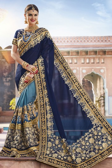 Lovely Navy Blue Georgette and Net Embroidered Wedding Saree With Banglori Silk Blouse