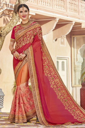 Admirable Peach Art Silk and Net Embroidered Wedding Saree