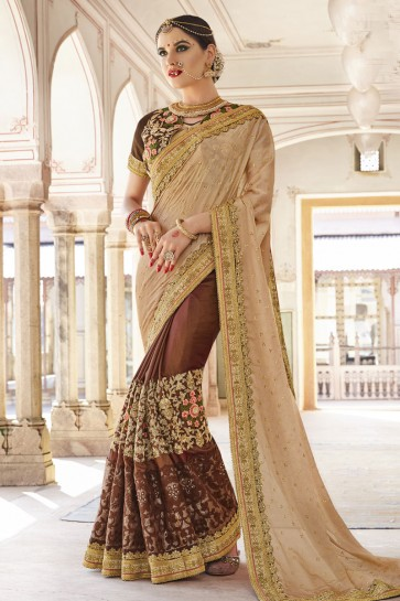 Gorgeous Beige and Brown Art Silk and Georgette Embroidered Wedding Saree