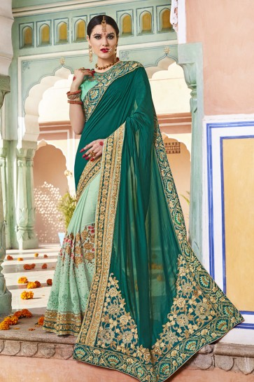Classic Green Silk and Net Embroidered Wedding Saree