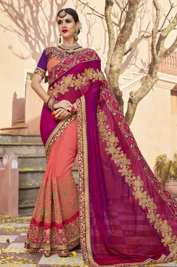 Charming Peach and Maroon Art Silk Embroidered Wedding Saree