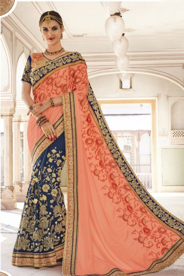 Stylish Peach and Blue Georgette and Art Silk Embroidered Wedding Saree With Banglori Silk Blouse