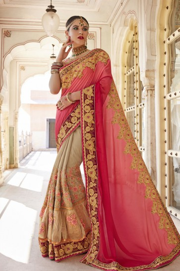 Optimum Pink and Beige Net, Silk and Georgette Embroidered Wedding Saree With Banglori Silk Blouse
