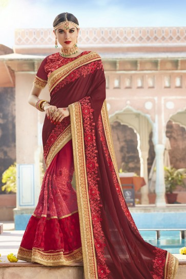 Pretty Maroon and Pink Georgette and Net Embroidered Wedding Saree With Banglori Silk Blouse